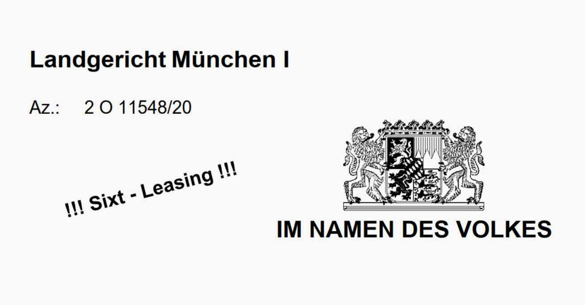 LG München Sixt Leasing widerrufbar